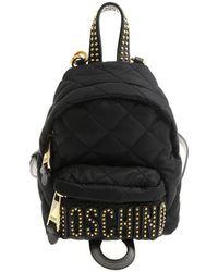 Moschino - Black Matelassé Branded Backpack - Lyst