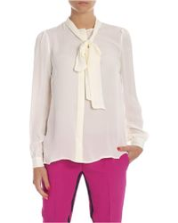 Michael Kors Silk Shirt In Cream Color With Bow - Natural