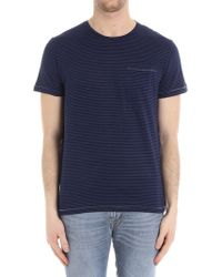 Dondup - Striped Crew-neck T-shirt In Shades Of Blue - Lyst