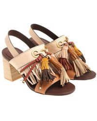 See By Chloé - Beige Sandals With Tassels - Lyst