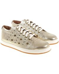Twin Set - Golden Sneakers With Pierced Details - Lyst