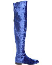 Alberta Ferretti - Electric Blue Velvet Boots - Lyst