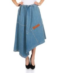 Loewe - Patchwork Skirt In Indigo-colored Denim - Lyst