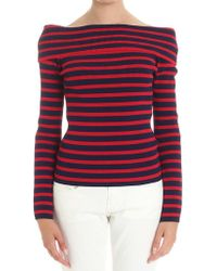 P.A.R.O.S.H. - Striped Off-shoulder Sweater - Lyst