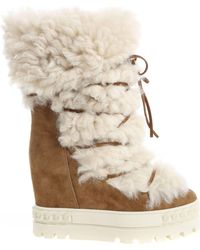 Casadei - Brown Boots With Sheepskin Fur - Lyst
