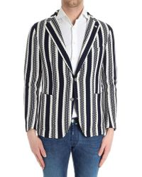 Tagliatore - Blue And White Knitted Jacket - Lyst