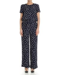 P.A.R.O.S.H. - Blue Silk Jumpsuit With Butterflies Print - Lyst