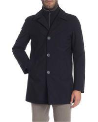 Herno - Cappotto blu con collo a camicia - Lyst