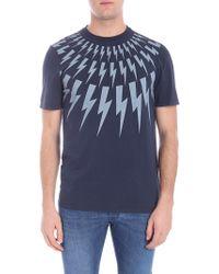 Neil Barrett - T-shirt blu con stampa fulmini - Lyst