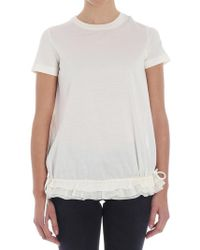 Moncler - Cream-color Top With Laces - Lyst