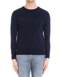 Paolo Pecora - Blue Crew Neck Sweater With Pierced Champion Logo - Lyst