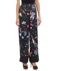 Shirtaporter - Black Trousers With Multicolour Print - Lyst