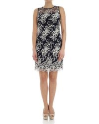 Lauren by Ralph Lauren - Blue Dress With Floral Embroidery - Lyst