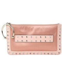 RED Valentino - Pink Clutch Bag With Multicolor Rhinestones - Lyst
