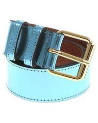 Essentiel - Light Blue Laminated Belt - Lyst