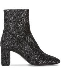 Saint Laurent - Lou Glitter Black Ankle Boot - Lyst