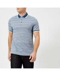 Michael Kors - Oxford Feeder Stripe Knit Collar Polo Shirt - Lyst