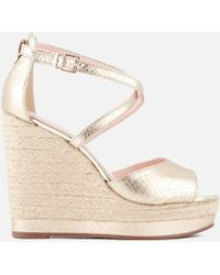 Dune - Kandis Leather Wedged Sandals - Lyst