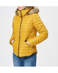 Joules - Gosling Short Padded Coat With Faux Fur Trimmed Hood - Lyst