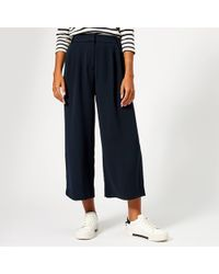 Whistles - Pleat Crop Wide Leg Trousers - Lyst