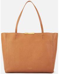 ccc87f05b9813c Lyst - Ted Baker Betties Leather Metal Bar Mini Shopper Bag in Gray