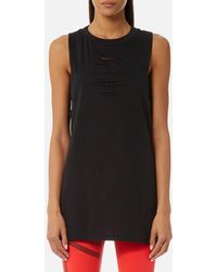 Reebok - Tank Top With Ripped Detailing - Lyst