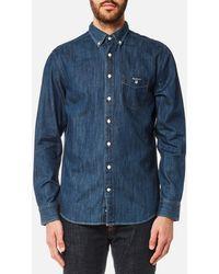 GANT - Indigo Button Down Shirt - Lyst