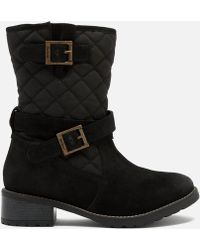 Barbour - Barnes Waxy Suede Quilted Mid Boots - Lyst