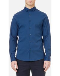 Michael Kors | Men's Slim Fit Spread Collar Stretch Nylon Poplin Shirt | Lyst