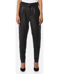 Gestuz - Beth High Waisted Leather Trousers - Lyst