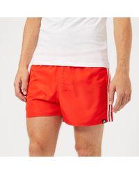 adidas - Swim 3 Stripe Swim Shorts In Red Dj2135 - Lyst