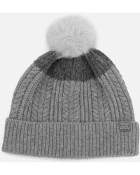 Joules - Fine Cable Bobble Hat With Faux Fur Pom - Lyst
