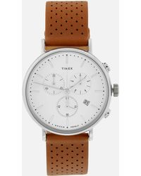Timex - Fairfield Chronograph Leather Strap Watch - Lyst