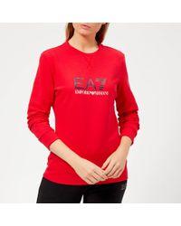 EA7 - Train Logo Series Sweatshirt With Shiny Print - Lyst