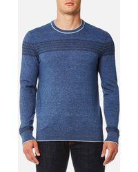 Michael Kors - Long Sleeve Chest Stripe Crew Sweatshirt - Lyst