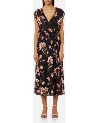 de6d823bd826 Self-Portrait 'nightshade' Floral Guipure Lace Crepe Dress in Black ...