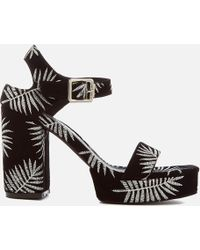 Sol Sana - Cathy Palm Embroidered Platform Heeled Sandals - Lyst