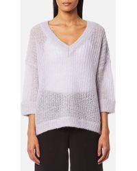SELECTED - Jina 3/4 Knitted V-neck Jumper - Lyst