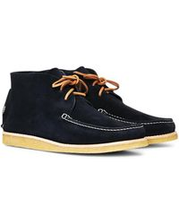 Yogi - Lucas Suede Moccasin Chukka Boot Navy Men's Mid Boots In Blue - Lyst