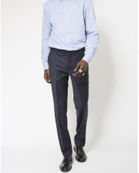 The Idle Man - Slim Fit Pure Wool Suit Trousers Navy - Lyst