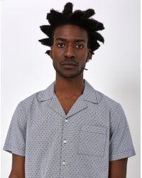 The Idle Man - Printed Gingham Dot Revere Collar Shirt Grey - Lyst
