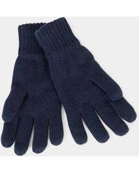The Idle Man - Knitted Thinsualte Gloves Blue - Lyst