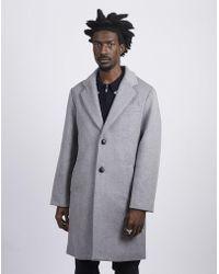 The Idle Man - Wool Blend Overcoat Grey - Lyst
