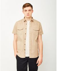 The Idle Man - Cotton Twill Utility Shirt Beige - Lyst