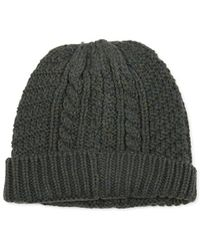 The Idle Man - Cable Knit Beanie Green - Green - Lyst