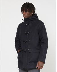 The Idle Man - Wool Duffle With Detachable Fur Hood Navy - Lyst