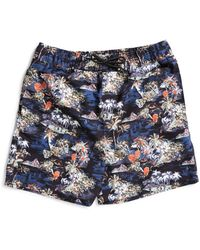 The Idle Man - Island Print Swim Shorts Navy - Lyst