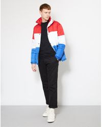 The Idle Man - Colour Block Puffer Jacket Red, White & Blue - Lyst