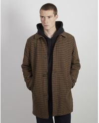 The Idle Man - Wool Houndstooth Check Overcoat Brown - Lyst