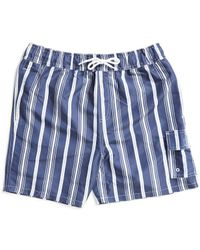 The Idle Man - Striped Swim Shorts Navy - Lyst